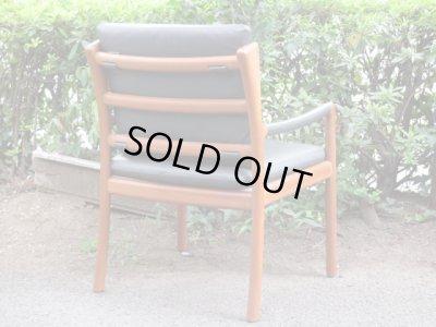 画像3: 北欧デザイン 本革×チーク材アームチェア 椅子