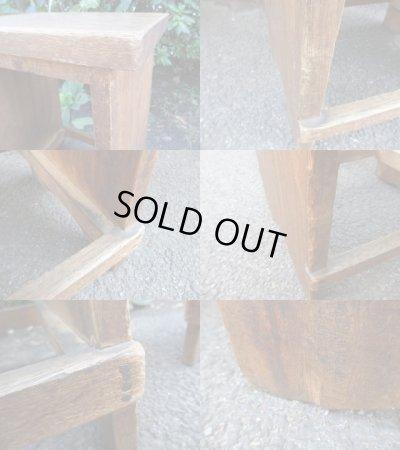 画像4: レトロな木製スツール 椅子 サイドテーブル 花台