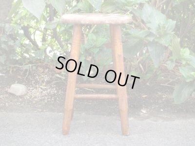 画像2: レトロ 木味良い 木製スツール 丸椅子 アンティークチェア