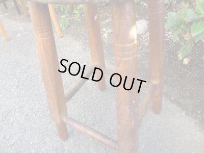 画像4: レトロ 木味良い 木製スツール 丸椅子 アンティークチェア