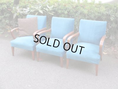画像1: 昭和レトロ ブルーのシングルソファ 一人掛け1P 椅子 アームチェア