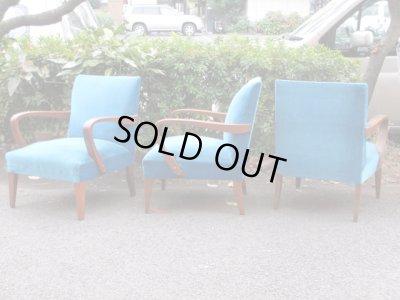 画像3: 昭和レトロ ブルーのシングルソファ 一人掛け1P 椅子 アームチェア