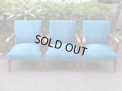 画像2: 昭和レトロ ブルーのシングルソファ 一人掛け1P 椅子 アームチェア