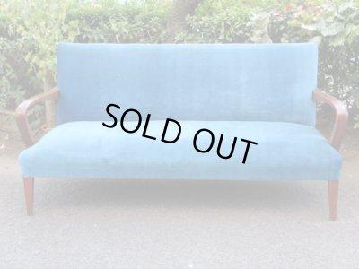 画像2: 昭和レトロ ブルーのソファ 3人掛け3シーター 椅子 アームチェア