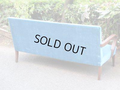 画像3: 昭和レトロ ブルーのソファ 3人掛け3シーター 椅子 アームチェア