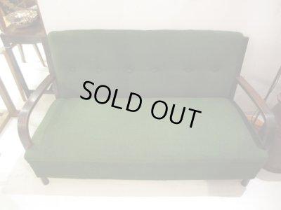 画像2: 昭和レトロ グリーンの3人掛けソファ 長椅子 3P SOFA