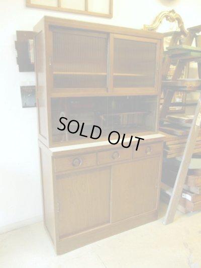 画像2: 昭和レトロ 古いモールガラスの食器棚 収納 カップボード