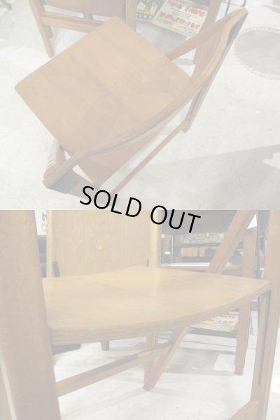 画像5: レトロ 木味良い 木製フォールディングチェア 折り畳み椅子