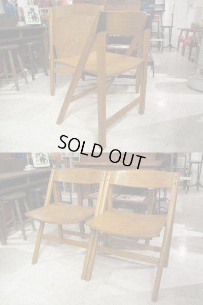 画像3: レトロ 木味良い 木製フォールディングチェア 折り畳み椅子