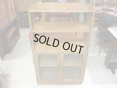 画像2: 昭和レトロ 木味良い ガラス本箱 収納棚