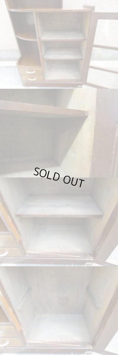 画像5: 昭和レトロ ガラス本箱 飾り棚 食器棚 楢材アンティーク