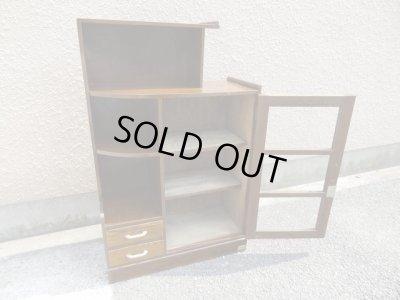 画像2: 昭和レトロ ガラス本箱 飾り棚 食器棚 楢材アンティーク
