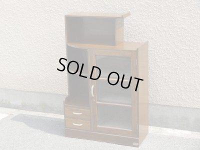 画像1: 昭和レトロ ガラス本箱 飾り棚 食器棚 楢材アンティーク