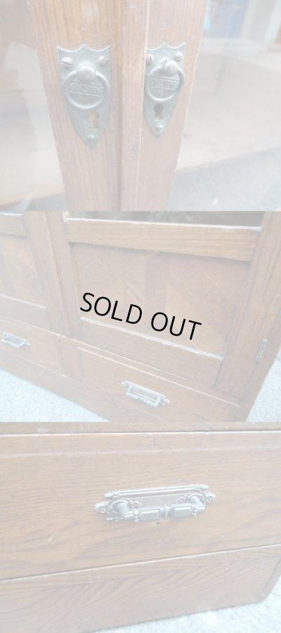 画像3: レトロ ガラス棚 本箱 キャビネット
