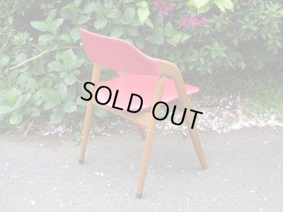 画像2: レトロ 辻木工 ダイニングチェア(2) 赤 アームチェア椅子