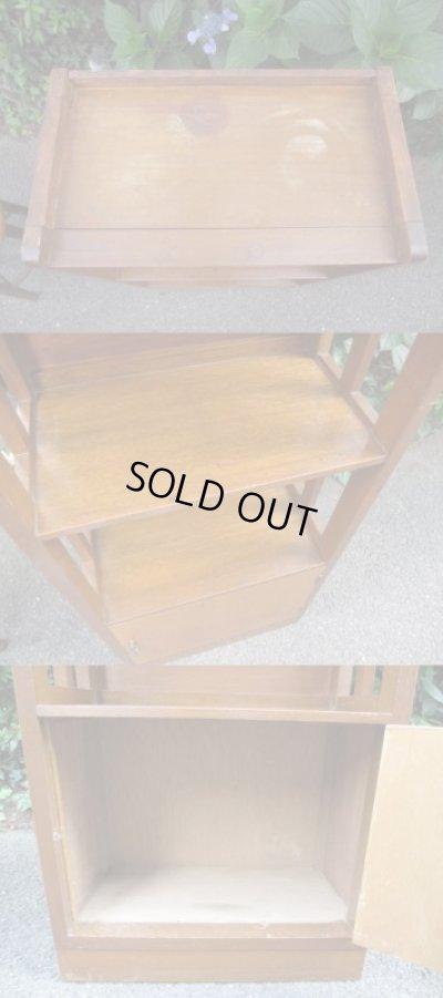 画像4: レトロ 縦格子の扉付本棚 ブックシェルフ