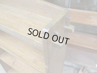 画像3: 昭和レトロ 小ぶりなラワン無垢材の楔本棚 ブックシェルフ