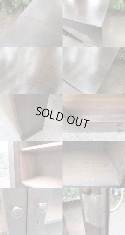 画像5: 昭和レトロ ラワン無垢材のガラス本箱 食器棚