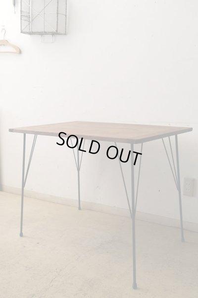 画像1: 古い裁ち板の鉄脚テーブル