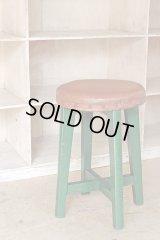 ヴィンテージ グリーンペイントスツール 丸椅子