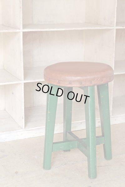 画像1: ヴィンテージ グリーンペイントスツール 丸椅子