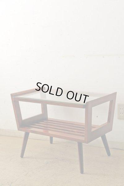 画像1: ヴィンテージ ガラストップサイドテーブル 桜材