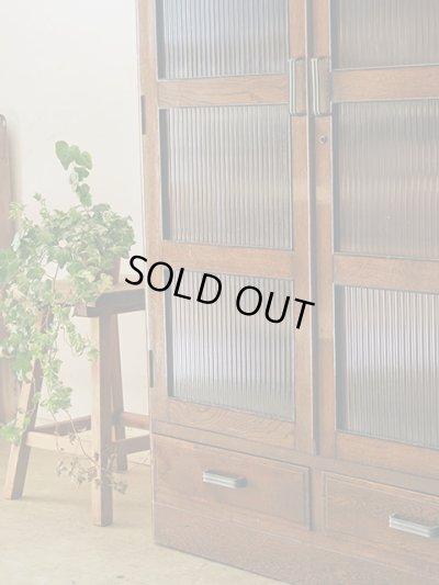画像1: ビンテージ 昭和レトロなモールガラスの本箱 キャビネット