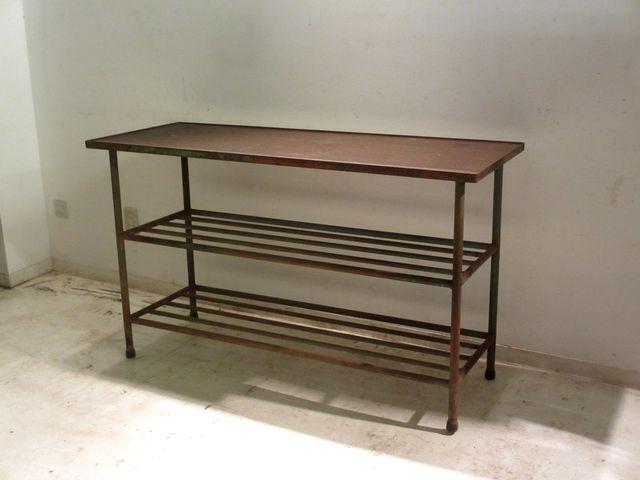 画像1: アンティーク 深い木味の天板 鉄脚テーブル 陳列台