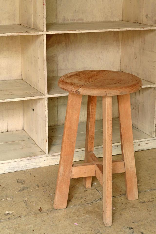 画像1: アンティーク 木製スツール 丸椅子