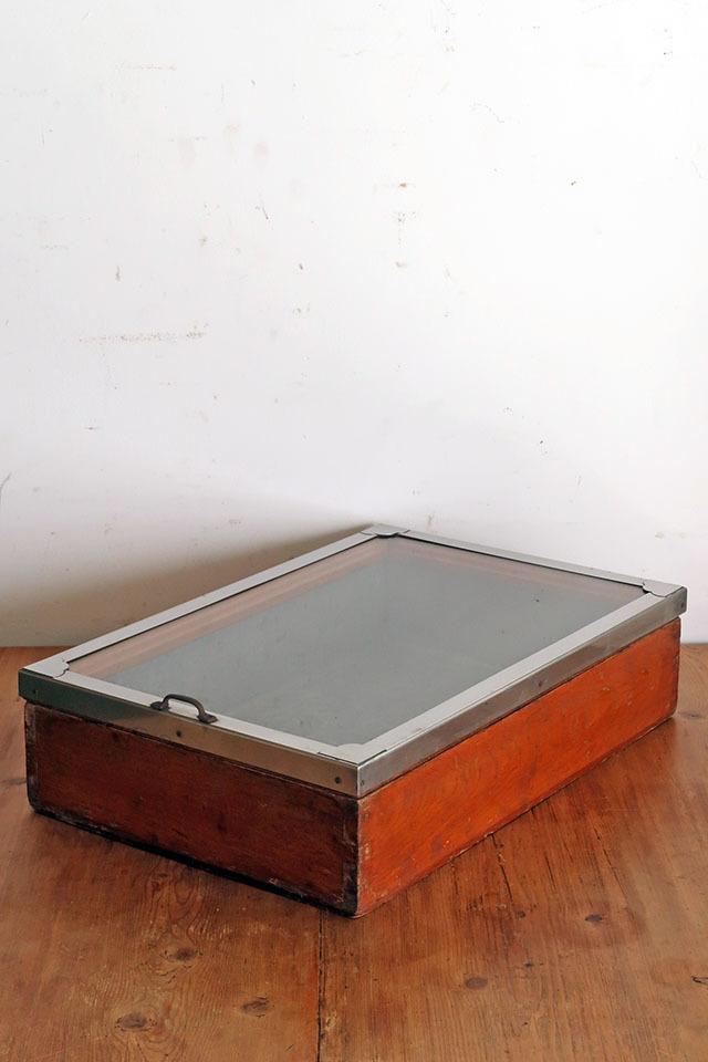 画像1: アンティーク  駄菓子屋のショーケース ブリキ 木箱