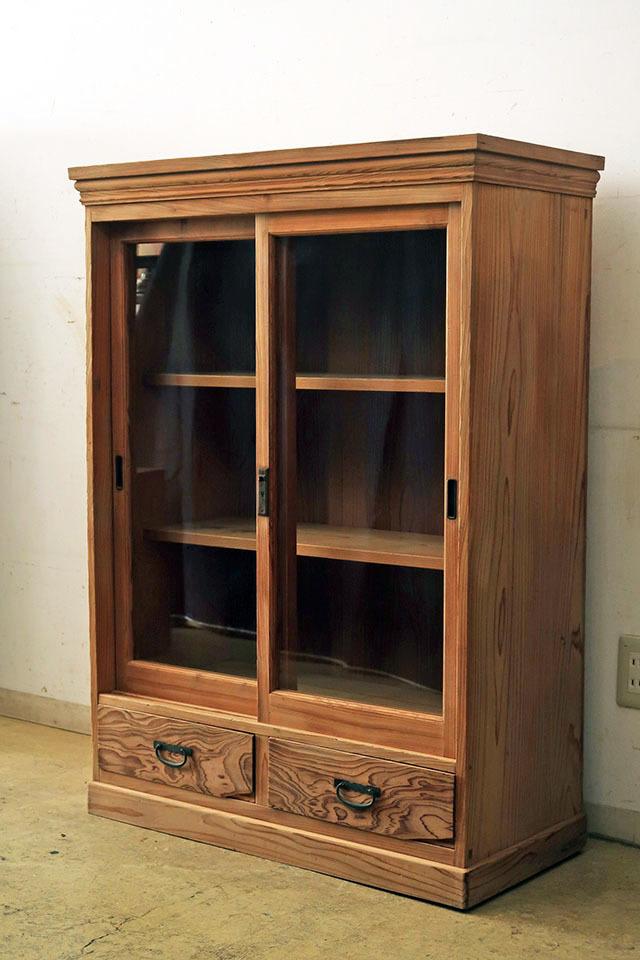 画像1: アンティーク  木味良い ガラス戸棚 食器棚