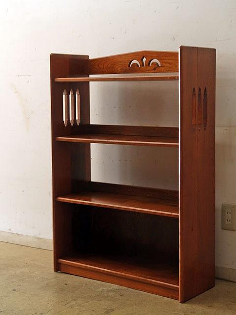 画像1: 古い 欅財の本棚 ブックシェルフ (1)