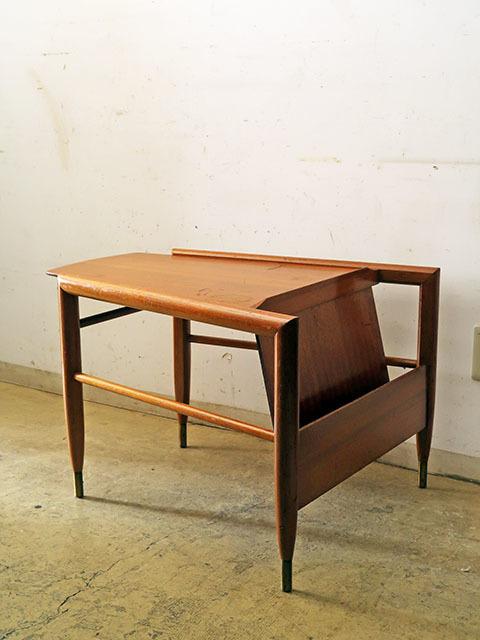 画像1: ヴィンテージ BrownSaltman社製 マガジンラック付きテーブル wedge table