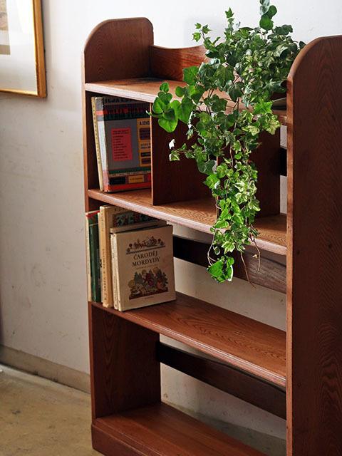 画像1: アンティーク  ケヤキ材の本棚 ブックシェルフ