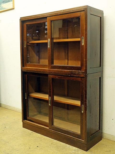 画像1: アンティーク  ナラ無垢材 ガラス戸棚 食器棚 水屋箪笥